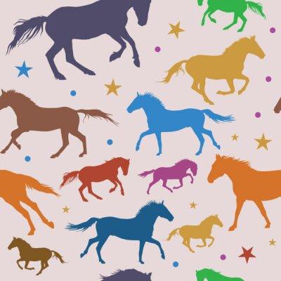 Nahtlose Muster mit bunten laufenden Pferde auf grauem Hintergrund