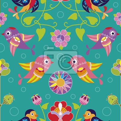 Sticker Nahtlose Muster mit dekorativen Vögeln und Blumen