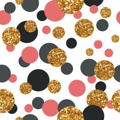 Sticker Nahtlose Muster mit goldenen Glitter Punkte.
