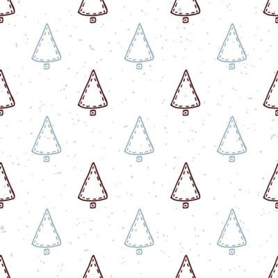 Sticker Nahtlose Muster mit handgezeichneten Weihnachtsbaum. Doodle Urlaub Hintergrund