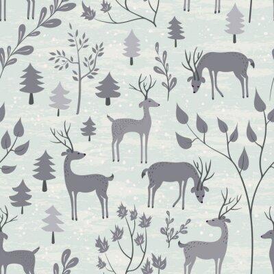 Sticker Nahtlose Muster mit Hirsch im Winterwald