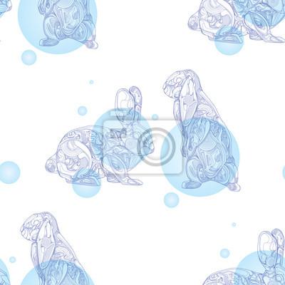 Nahtlose Muster mit Kaninchen