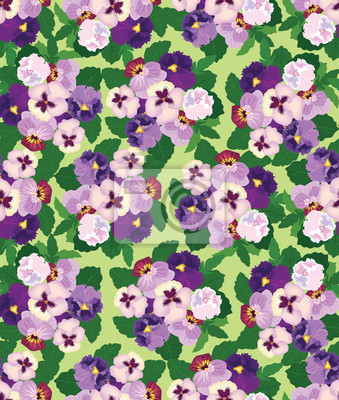 Sticker nahtlose Muster mit lila und violetten Stiefmütterchen, Hintergrund