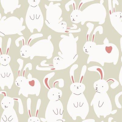 Sticker Nahtlose Muster mit niedlichen weißen Kaninchen