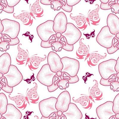 Sticker Nahtlose Muster mit rosa punktierten Motte Orchidee oder Phalaenopsis und kunstvollen Schmetterlingen auf dem weißen Hintergrund. Floral Hintergrund in Dotwork-Stil.