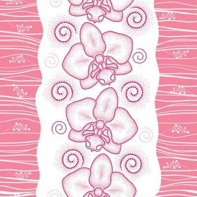 Sticker Nahtlose Muster mit rosa punktierten Motte Orchidee oder Phalaenopsis und wirbelt auf dem weißen Hintergrund. Floral Hintergrund in Dotwork-Stil.