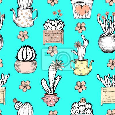 Nahtlose Muster mit schwarz-weißen Kaktus mit Blumen in Pastell rosa Topf auf blauem Hintergrund. Vektor-Druck mit Kakteen. Nette Fliesenschablone, von Hand gezeichnet