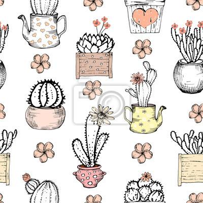 Nahtlose Muster mit schwarz-weißen Kaktus mit Blumen in Pastell rosa Topf. Vektor-Druck mit Kakteen. Nette Fliesenschablone, von Hand gezeichnet
