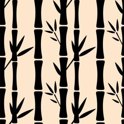 Sticker Nahtlose Muster mit schwarzen Silhouetten Bambus Bäume