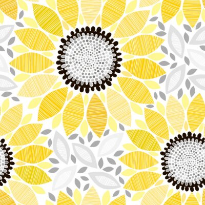 Sticker Nahtlose Muster mit Sonnenblumen. Abstract floral Hintergrund.