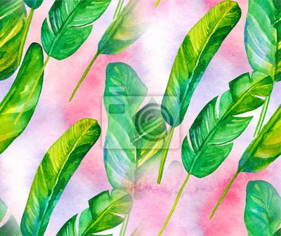 Nahtlose Muster mit tropischen Blättern. Aquarell Hintergrund mit Bananenblättern