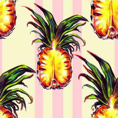 Sticker Nahtlose Muster mit tropischen Pflanzen und Früchten