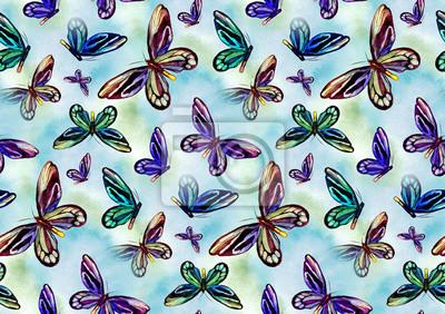Nahtlose Muster mit tropischen Schmetterling. Aquarell handbemalten Schmetterling