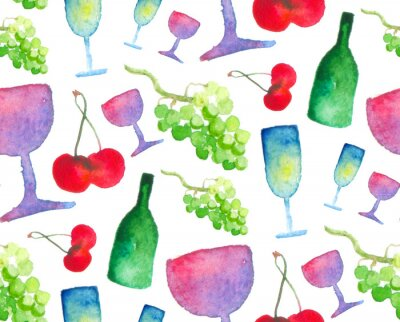 Nahtlose Muster. Vino und Obst