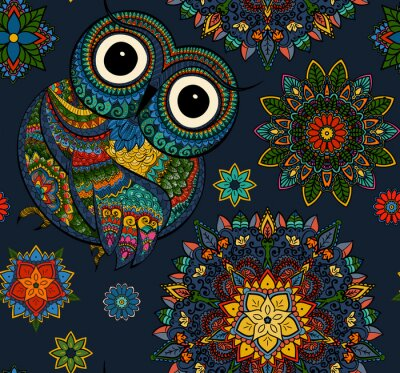Sticker Nahtlose Muster von ornamentalen Farbe Eule mit Blumen und Mandala. Afrikanischer, indischer, Totem, Tätowierungentwurf. Es kann für die Gestaltung eines T-Shirt, Tasche, Postkarte, ein Poster und so