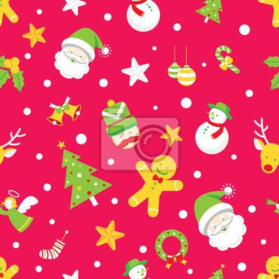 Sticker Nahtlose Muster: Weihnachts Objekte