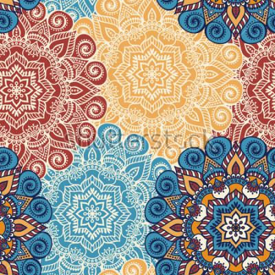 Sticker Nahtlose Musterfliese mit Mandalas. Vintage dekorative Elemente. Hand gezeichneter Hintergrund. Islam, arabische, indische, osmanische Motive. Perfekt zum Bedrucken von Stoff oder Papier.