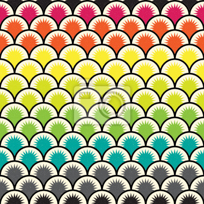 Nahtlose Ornament auf der Form von Schuppen. Regenbogen farbige, gealtert.
