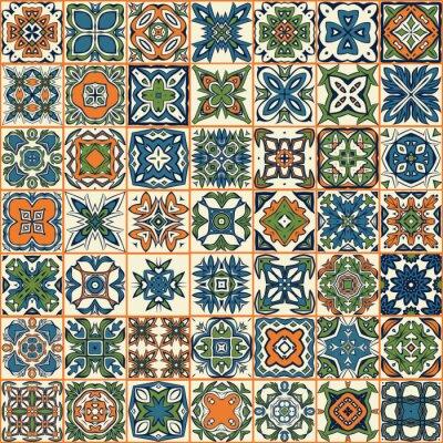 Sticker Nahtlose Patchwork Muster, Fliesen, Ornamente