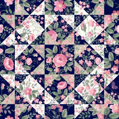 Sticker Nahtlose Patchwork-Muster mit Rosen