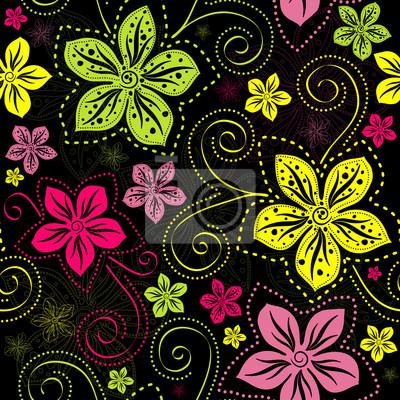 Nahtlose schwarz Blumenmuster