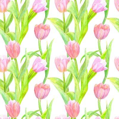 Sticker Nahtlose Textur mit eleganten Tulpen für Ihr Design. Aquarellmalerei