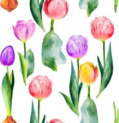 Sticker nahtlose Tulpe Muster auf weißem Hintergrund