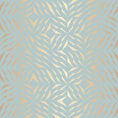 Sticker Nahtlose Vektor geometrischen goldenen Element Muster. Zusammenfassung Hintergrund Kupfer Textur auf blau grün. Einfacher minimalistischer Grafikdruck. Modernes türkisfarbenes Gittergitter. Trendige H