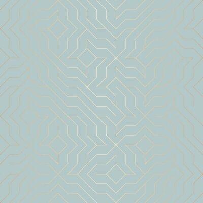 Sticker Nahtlose Vektor geometrischen goldenen Linie Muster. Zusammenfassung Hintergrund Kupfer Textur auf blau grün. Einfacher minimalistischer Grafikdruck. Modernes türkisfarbenes Gittergitter. Trendige Hip