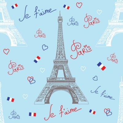 Nahtlose Vektor-Muster mit Eiffelturm