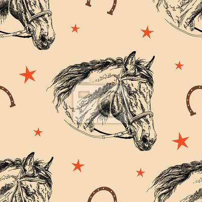 Nahtlose Vektor-Muster Pferd Kopf
