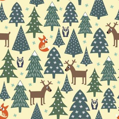 Sticker Nahtlose Weihnachten Muster - abwechslungsreiche Weihnachtsbäume, Häuser, Füchse, Eulen und Hirsche. Happy New Year Hintergrund. Vector Design für den Winterurlaub. Child Zeichnung Stil Natur Wald Abb