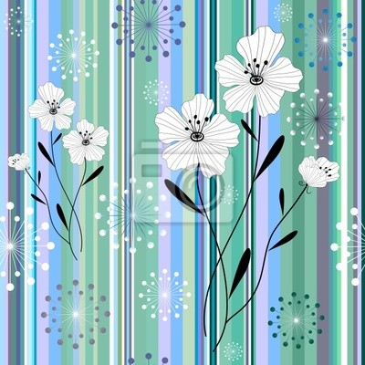 Nahtlose weiß-blau floral Streifenmuster