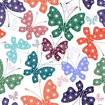 Nahtlose weiß Blumenmuster mit Schmetterlingen