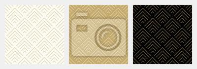 Sticker Nahtlose Wellenmuster-Hintergrundstreifen-Goldluxusfarbe und -zeile des Musters nahtlose Sparren abstrakte. Geometrische Linie Vektor. Weihnachtshintergrund.
