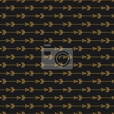 Nahtloser goldener Pfeil auf dunklem Hintergrund. Trendy Pfeile Muster für Mode und Textil.