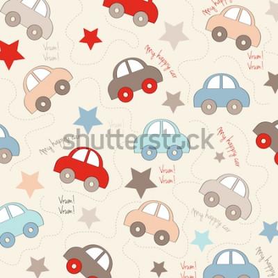 Sticker nahtloser Hintergrund mit Autos, Vektorillustration