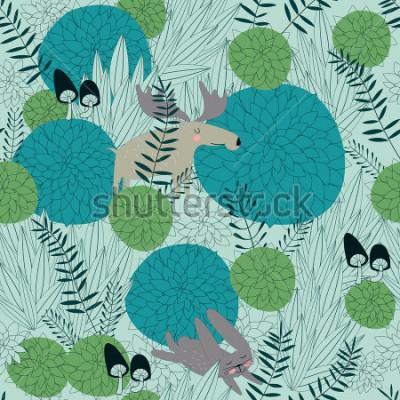 Sticker Nahtloser Waldhintergrund mit netten Waldpflanzen, Elchen, Hasen und Pilzen in der Karikaturart.