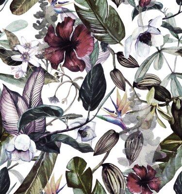 Sticker Nahtloses Aquarellmuster mit tropischen Blumen, Magnolie, orange Blume, Vanilleorchidee, tropische Blätter, Bananenblätter