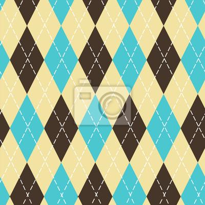 Nahtloses Argyle-Muster mit chaotischen goldenen Punkten. Traditioneller Diamantscheckdruck. Vintage nahtlose Hintergrund.