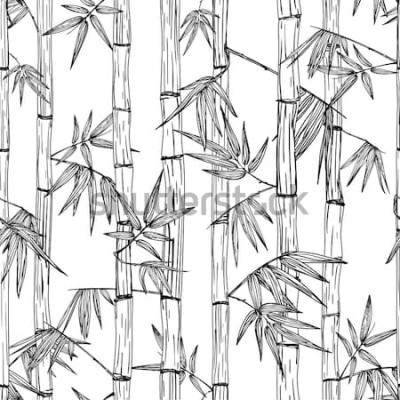 Sticker Nahtloses Bambuswaldmuster des Vektors. Schwarzweiss-Hand gezeichneter Skizzenhintergrund. Design für Mode-Textildruck, asiatisches Spa und Massage, Kosmetikpaket, Möbelmaterialien.