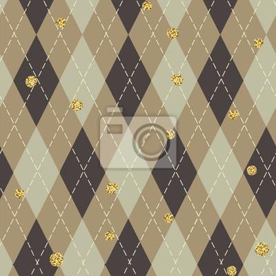 Nahtloses blaues argyle Muster mit chaotischen goldenen Punkten. Traditioneller Diamantscheckdruck. Vintage nahtlose Hintergrund.