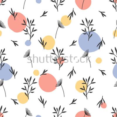 Sticker Nahtloses Blumenmuster. Flache botanische Verzierung mit handgezeichneten Naturelementen und Punkten. Einfache sich wiederholende Textur. Modernes Originalgewebe, Geschenkpapier, Innendesign. Vektor-M