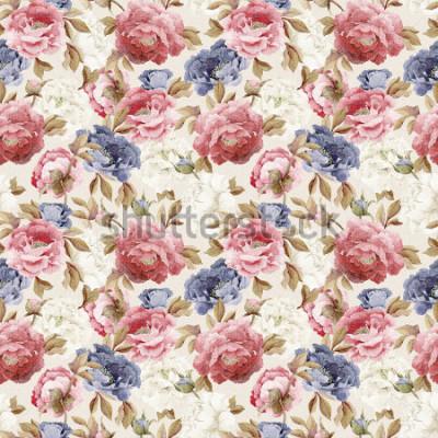 Sticker Nahtloses Blumenmuster mit Pfingstrosen, Aquarell