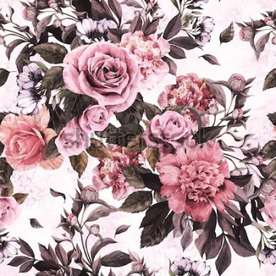 Sticker Nahtloses Blumenmuster mit rosa Rosen und Pfingstrosen auf Aquarellhintergrund.