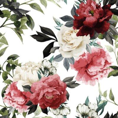 Sticker Nahtloses Blumenmuster mit Rosen, Aquarell. Vector illustrat