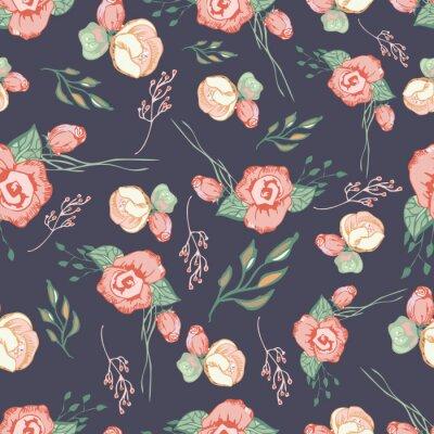Sticker Nahtloses buntes Blumenmuster Elemente 4