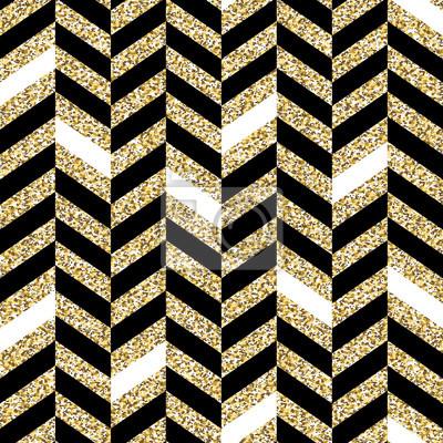 Nahtloses Chevron-Muster. Glitzernde goldene Oberfläche. Schwarz-Gold-Hintergrund