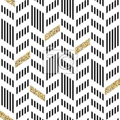 Nahtloses Chevron-Muster. Mit glitzerndem Gold und dünnen Linien