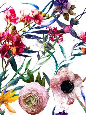Sticker nahtloses exotisches Blumenart und weisemuster